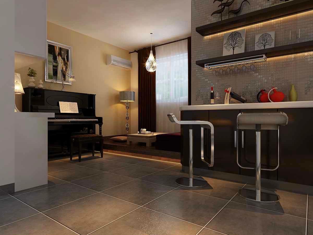 很多家庭都会在家中设计一个小吧台,特别是喜欢酒吧吧台随性感的年轻