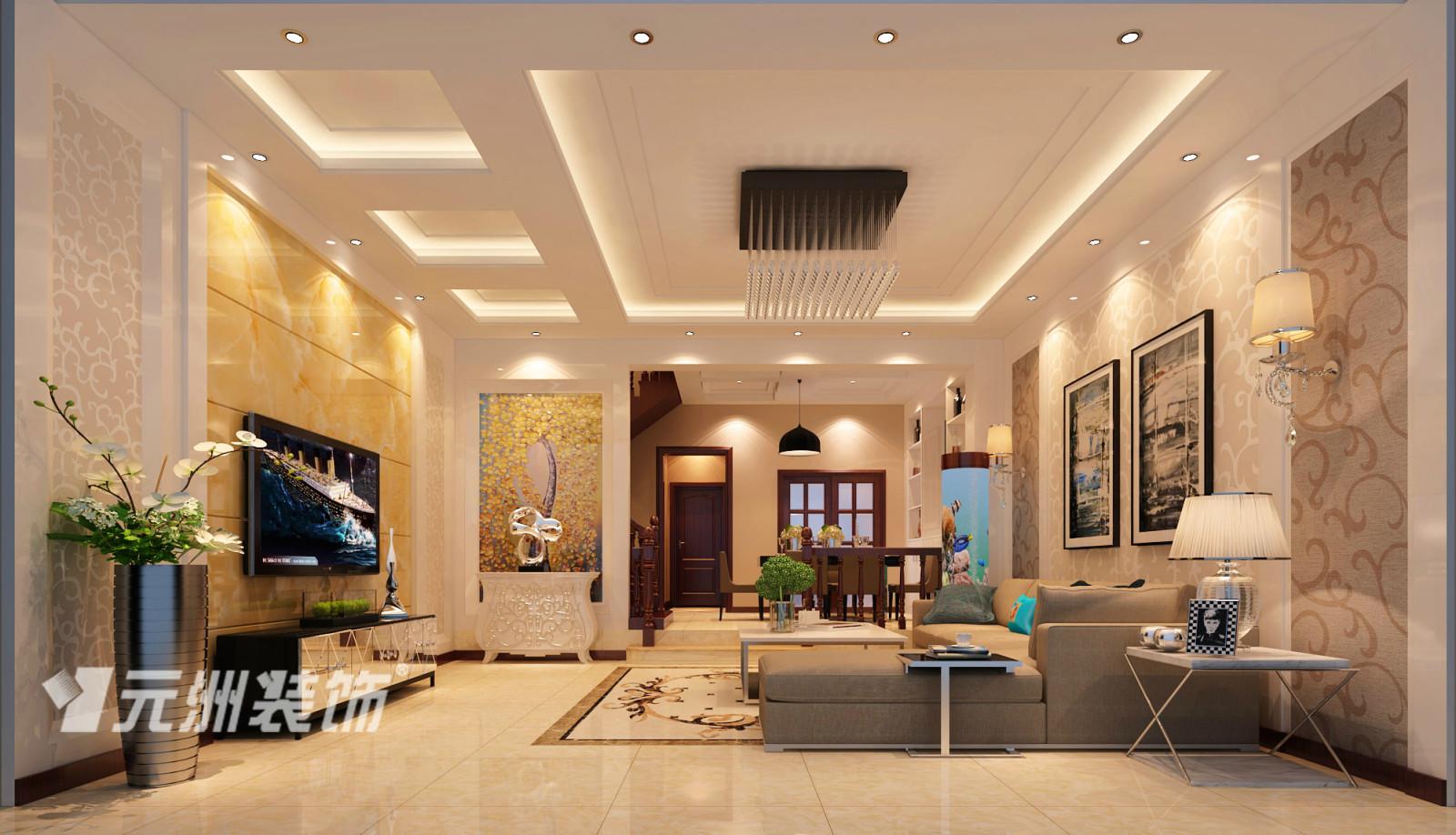 以大理石墙砖,护墙板材质为客厅,餐厅墙面主造型,沙发背景墙采用了图片