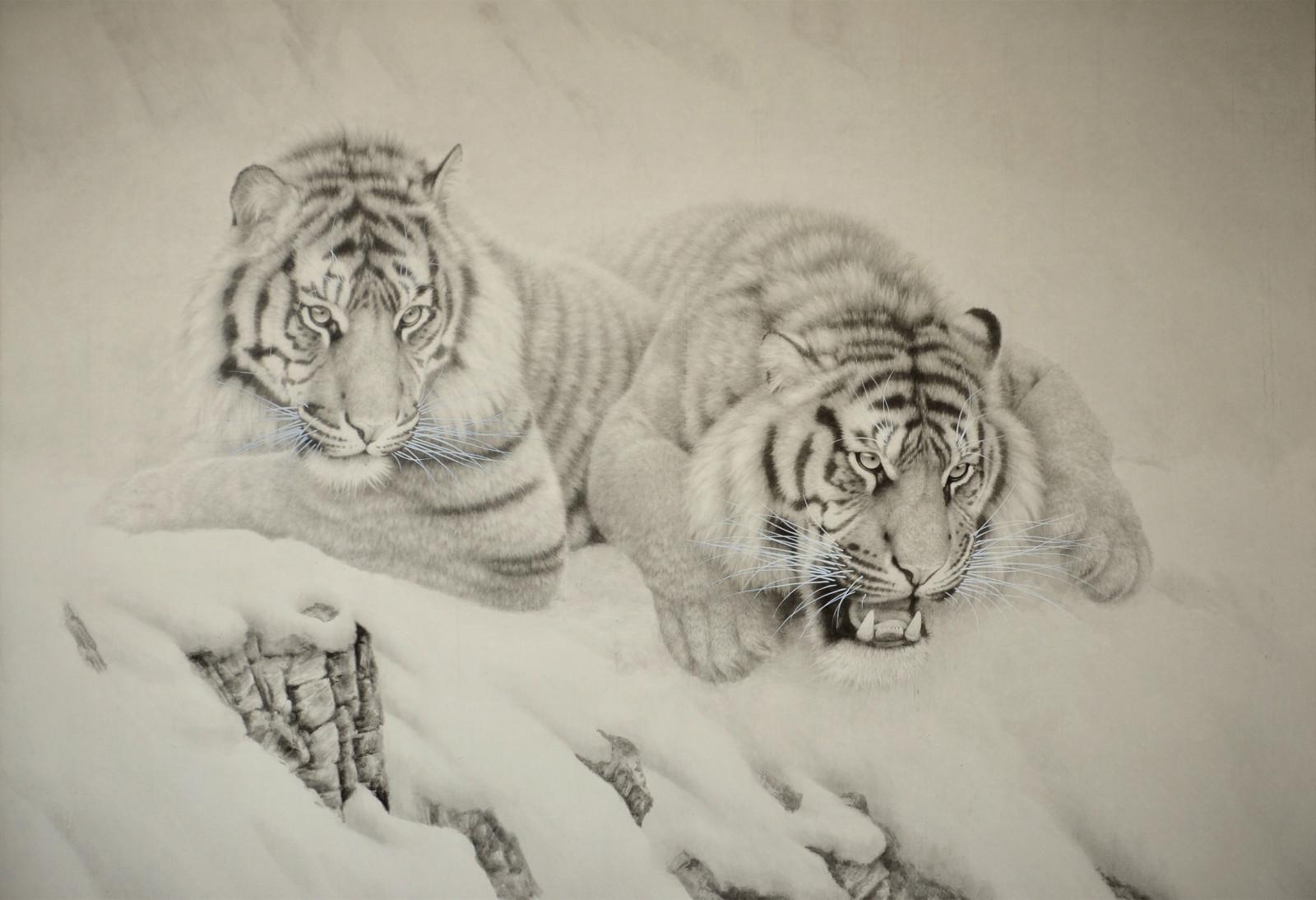 在当今画坛上以动物为题材创作的画家很多,可谓各具特色,表现手法上也都有各自的绝活。中国传统绘画中表现动物的杰出艺术家们大多以牛、马为主要对象,现代齐白石画虾出神入化 徐悲鸿画马活灵活现,真正涉及到相对生猛而暴戾的虎、豹、豺、狼的题材表现也呈递增之势。高泽海先生就是其中一员。他的动物题材作品有他独到的艺术感觉,形成他融写意和工笔于一体的艺术风格,他笔下的猛虎威武但很可爱,雄狮昂然矗立,壮硕而威严,令观者叹为观止。那是一种大气、奔放、开阔、高远的境界,纯绵裹铁,虚实相生。