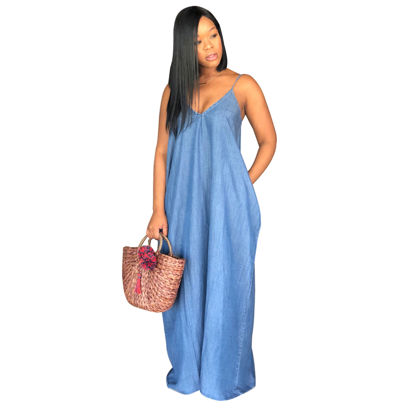 919eda70ecb 2019 New Plus Size Boho Backelss Summer Long Denim Maxi Dress Women Jean  Dresses