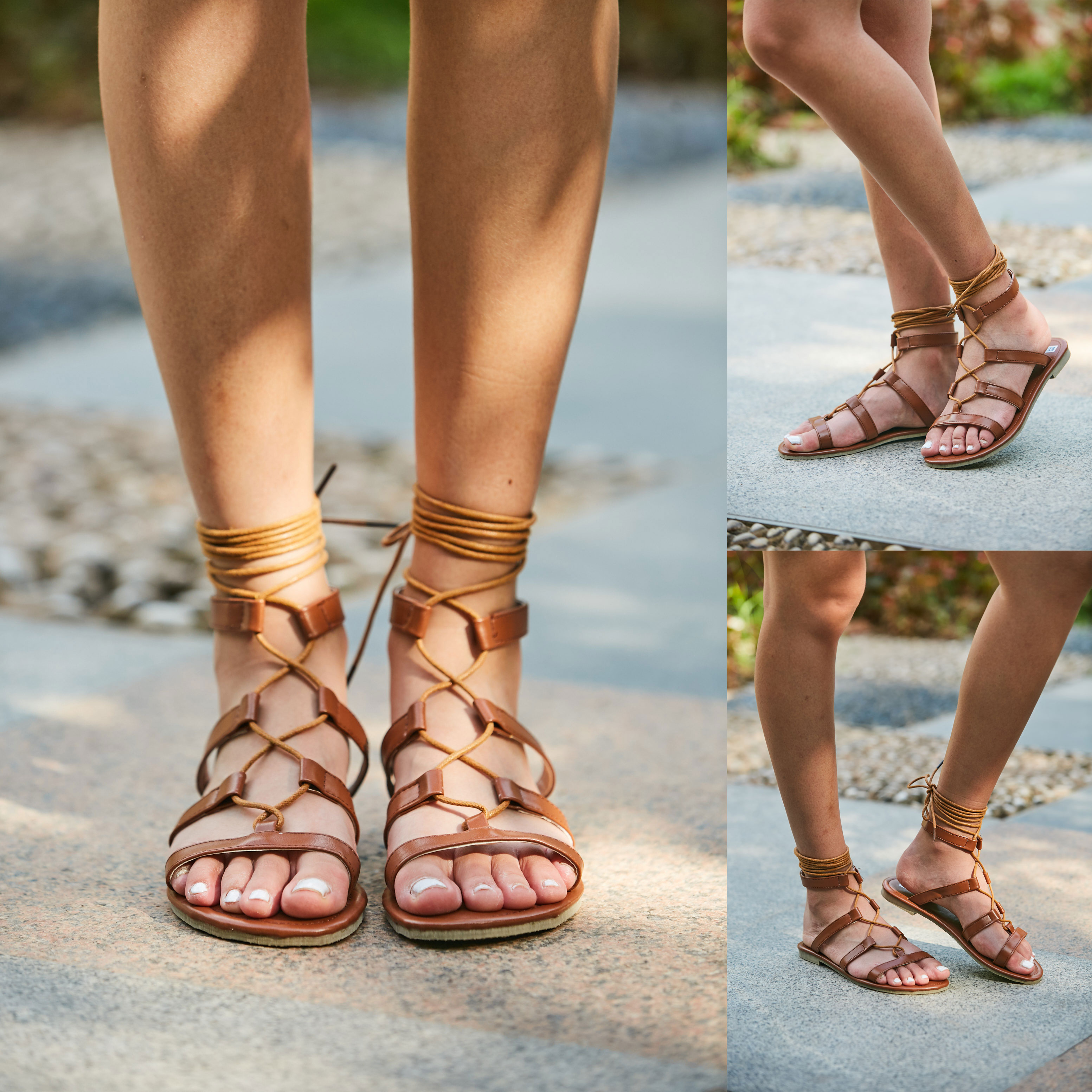 5585a3888c9606 Details about Womens Cut Out Lace Up Ladies Flat Gladiator Summer Sandals  Shoes Size