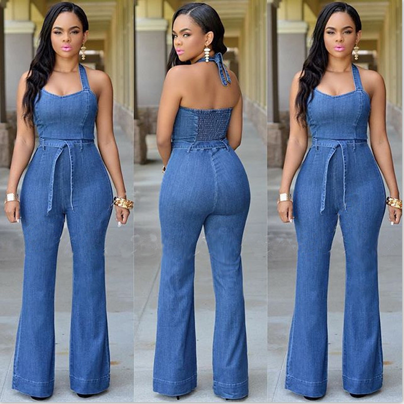 1a36a9e2dd6 Details about 2018 New Plus Size Backelss Summer Long Denim Women Casual Jeans  Pants Jumpsuit