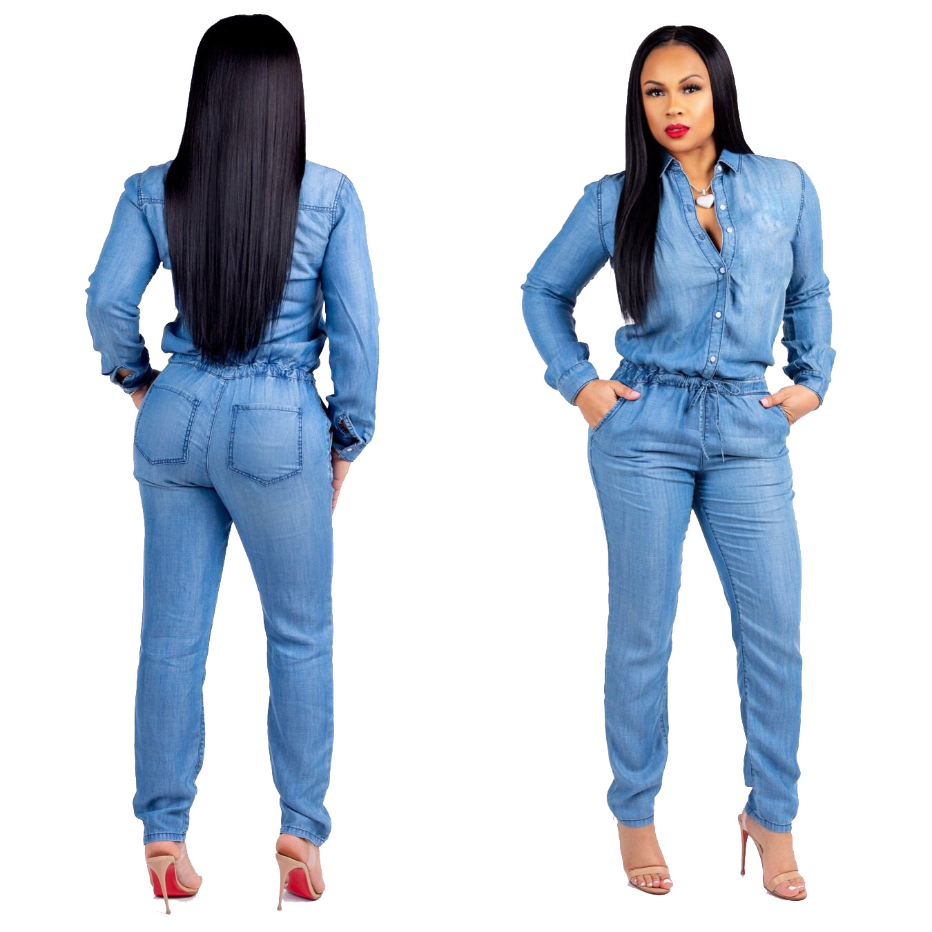4261264fe537 Casual Women s Bodycon Jumpsuit Jeans Denim Rompers Overalls Trousers Pants