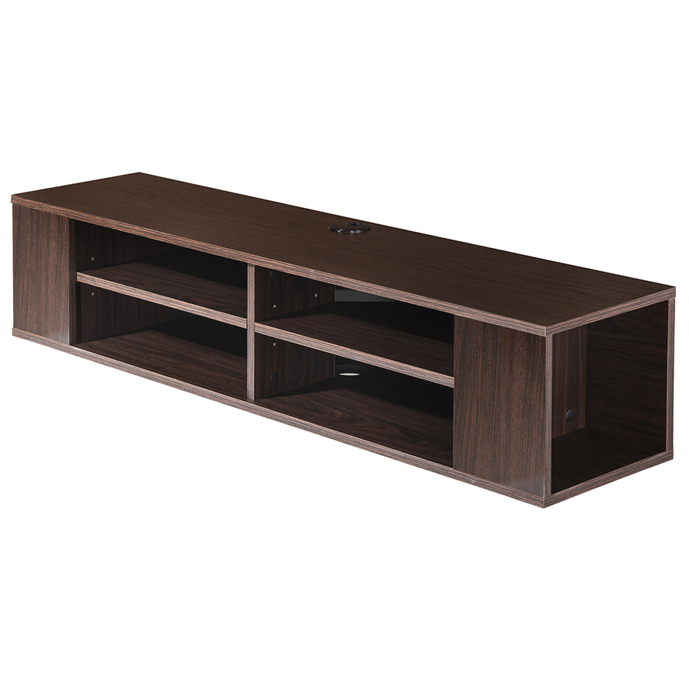 wood tv stand wall mount media entertainment console center floating shelves ebay. Black Bedroom Furniture Sets. Home Design Ideas
