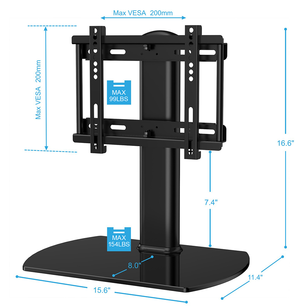 fitueyes universal tv stand pedestal base wall mount for 27 37 flat screen tvs ebay. Black Bedroom Furniture Sets. Home Design Ideas