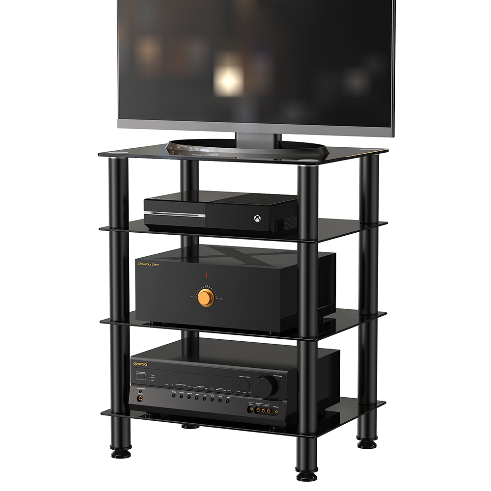 fitueyes tv mount stand glass shelves storage for av components console speakers ebay. Black Bedroom Furniture Sets. Home Design Ideas