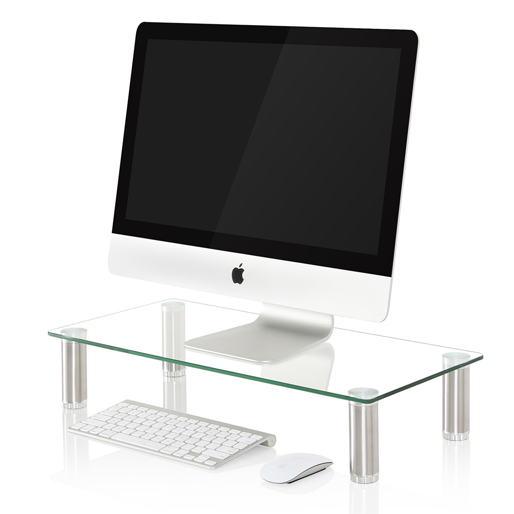Fitueyes Computer Monitor Stand Desk Table Glass Shelf ...