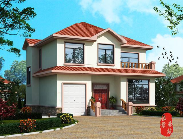 建筑风格为现代农村简约欧式风格,米黄色的外墙腻子搭配橘红色琉璃瓦,散发着浓郁的乡村风情,小木护栏、小露台,门斗的踏步台阶更是为其增添了生活的气息,整体设计理念,力图用最简单实用的设计语言,设计出最经久耐看的房子。 最适合农村的实用别墅13×11.8米立面图