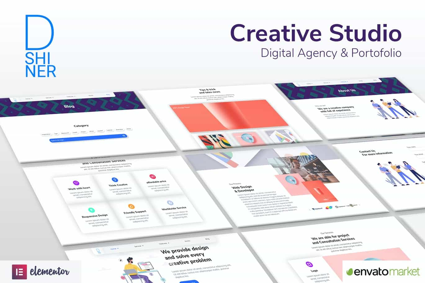 Elementor Pro模板-D'Shiner Creative Studio & Digital Agency Elementor Template KitD