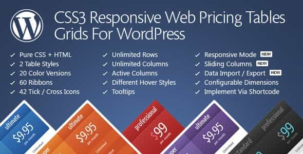 wordpress插件-CSS3 Responsive WordPress Compare Pricing Tables 11.3