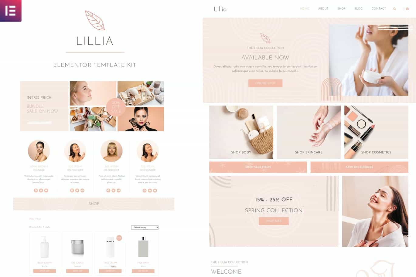 Elementor Pro模板-Lillia – 美容和护肤 Elementor Template Kit