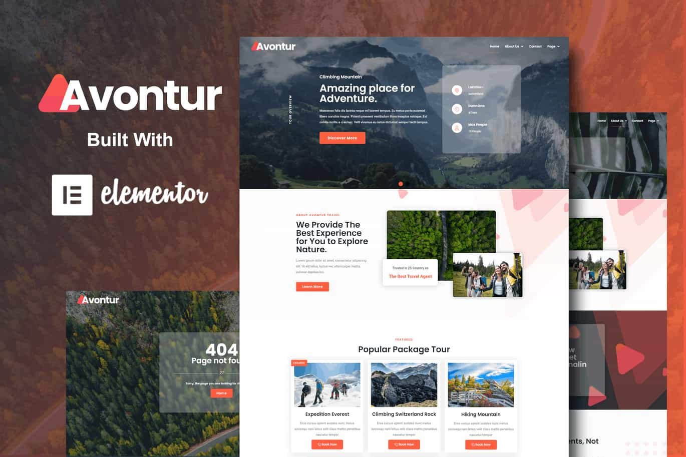 Elementor Pro模板-Avontur – 现代旅游与旅行 Elementor Template Kit
